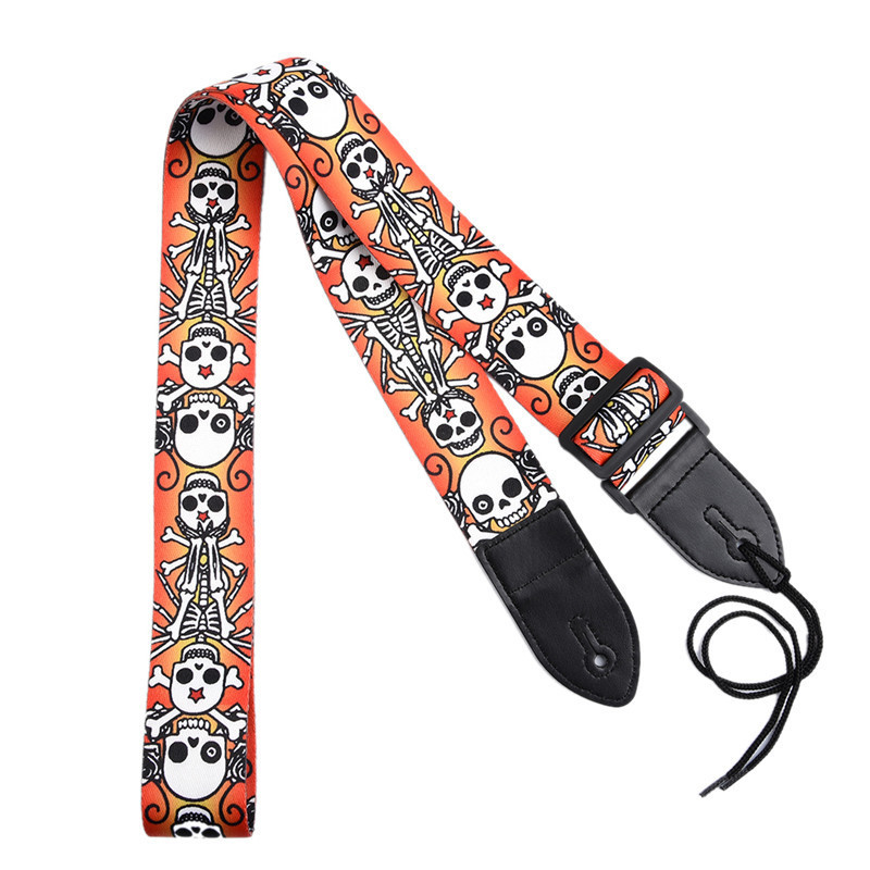 Acoustic Guitar Strap Skull Head Personalized Printing Guitar Straps For Guitar Bass Electric Guitar Special Folk Straps amumu traditional weaving patterns cotton guitar strap for classical acoustic folk guitar guitar belt s113