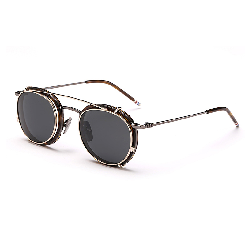 New York Eyeglasses Frames Men Women Sunglasses With Clip High Quality Round Vintage Zonnebril Mannen Dames Polarized image