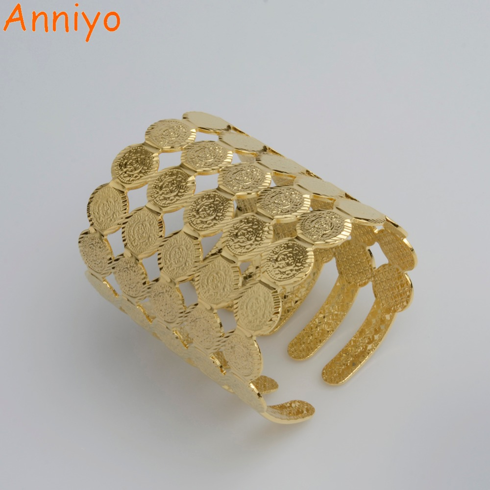 Anniyo (Can Open) Wide Coin Cuff Bangle Women Middle Eastern Jewelry New Arab Ethnic Gold Color Bracelets African Gift #057802 middle eastern patterns to colour