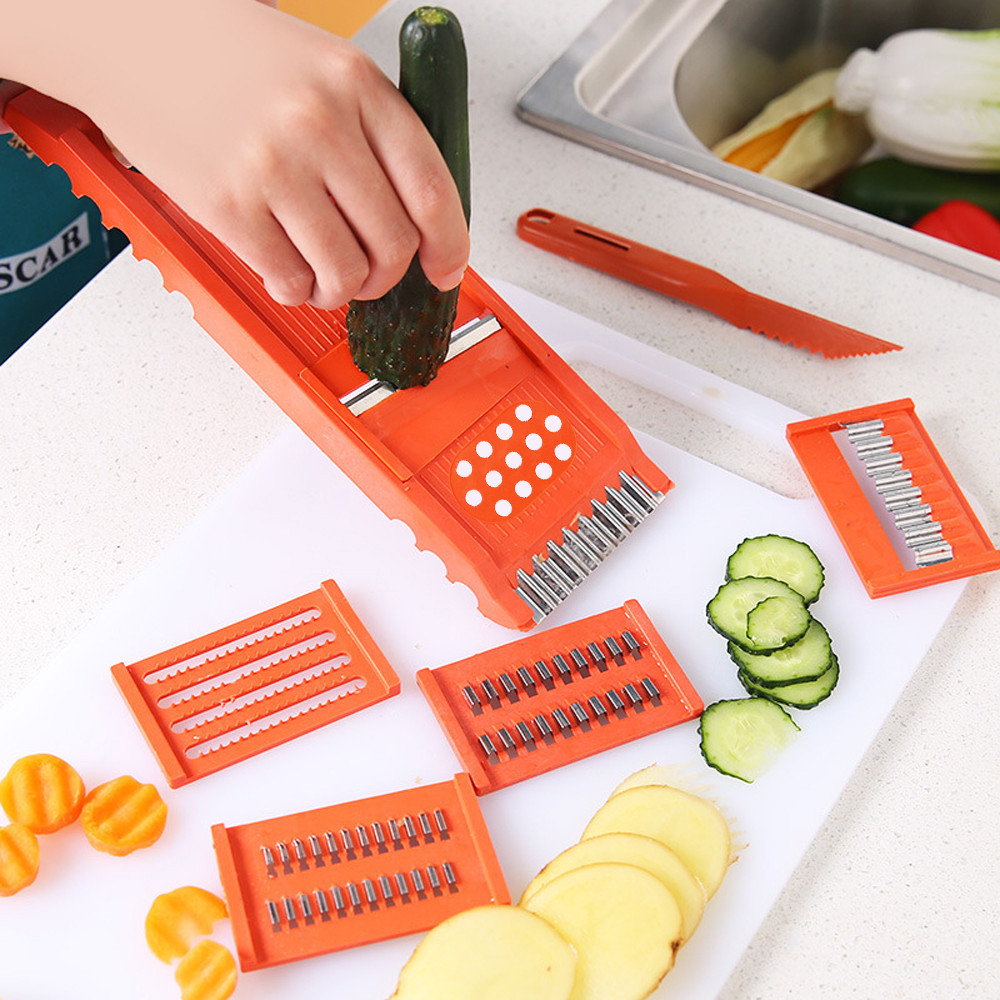 7Pcs/Set <font><b>Multifunction</b></font> Fruit Vegetable Fruit Slicer Cutter <font><b>Chopper</b></font> Peeler <font><b>Kitchen</b></font> Essential <font><b>Food</b></font> <font><b>Tool</b></font> Set Shredded Slice Gadgets image