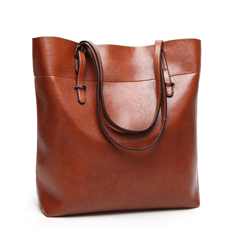 Hot 2018 New Large Tote Handbags Oil Leather Bucket Women Messenger Bags Ladies Fashion Leather Portable Female Shoulder Bag miwind 2017 new women bag cow oil wax leather handbags letter v shoulder bags female luxury casual totes simple fashion portable