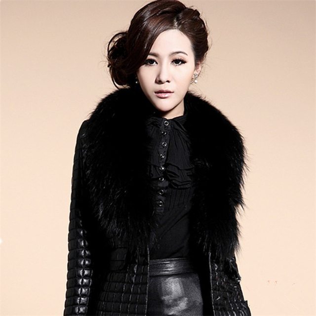 long Slim Ladies Black PU Fur Leather #Jacket Autumn Winter Office Ladies Artificial Fox #Fur #Coat #fashion #fauxfur #boygrl 2