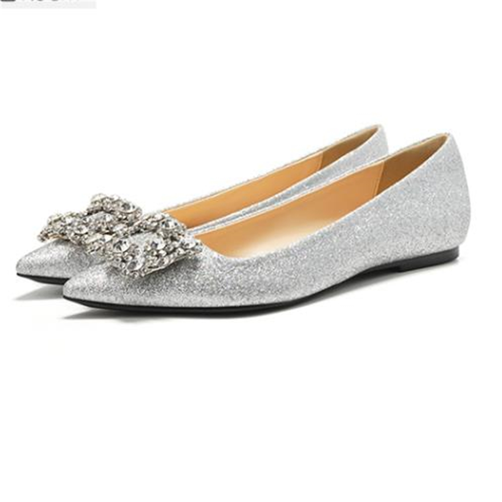 Custom-made Flat Shoes Women's Single Wild Pointed Square Buckle Crystal  Silver Wedding Dress Wedding Shoes Female 2018 New