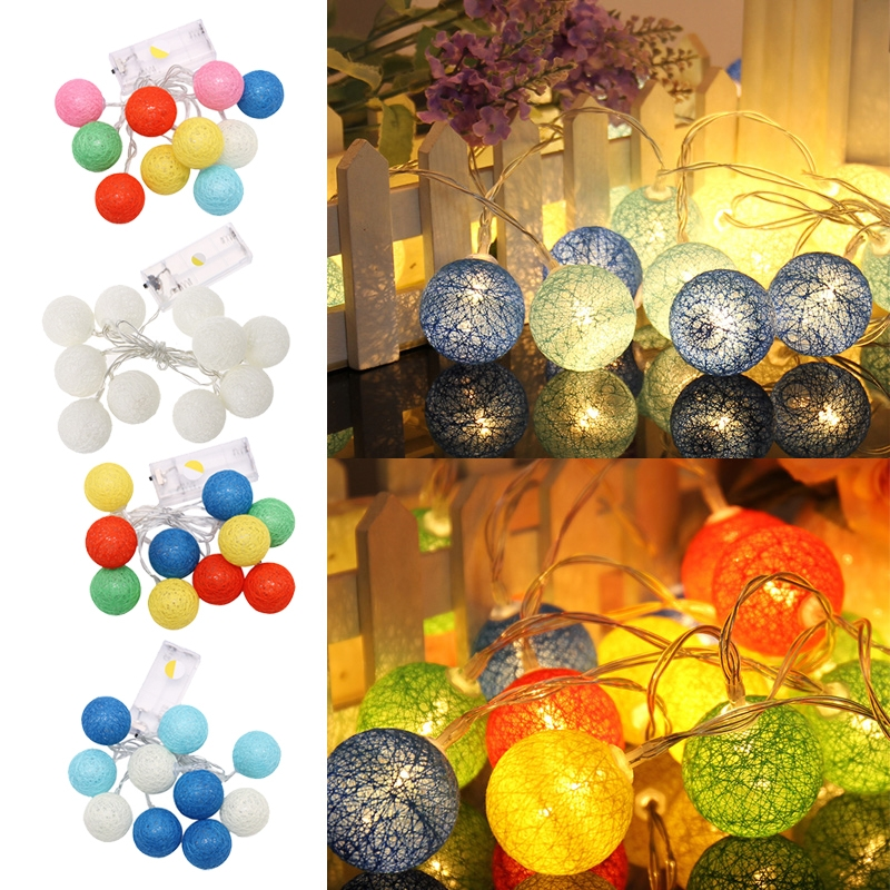 1.2m 10 LED Waterproof Cotton Ball Fairy String Lights W/Battery Box Xmas Wedding Christmas Decoration Outdoor