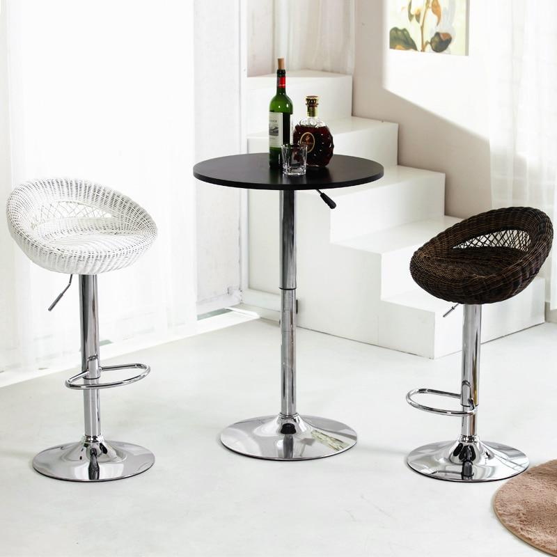 High Quality Creative Lifting Wicker Chair Braided Swivel Bar Chair Stool Bird Nest Shaped Bar Stool Ergonomic Adjustable Height