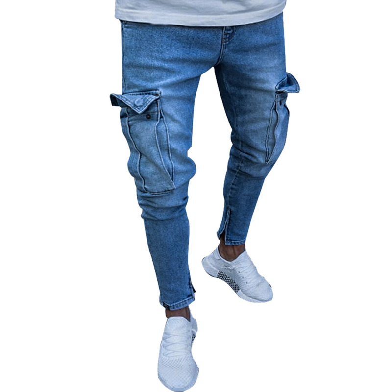 MoneRffi Mens Skinny Jeans Trend Knee Hole Zipper Pocket Denim Biker Jeans Hip Hop Distressed Slim Elastic Jeans Washed Jeans(China)