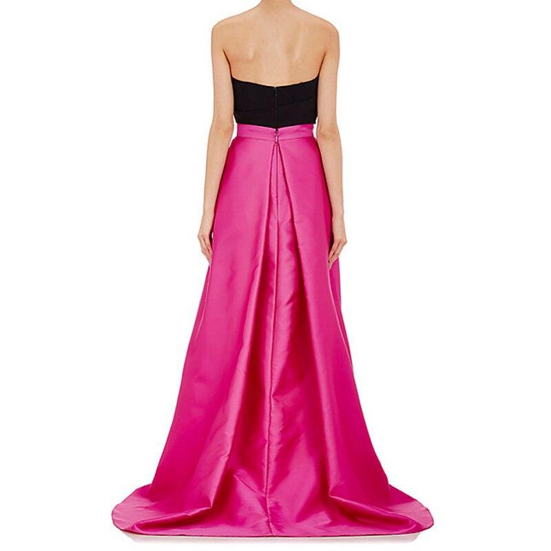 0ef00fbc89 Vintage fucsia alta baja tafetán faldas largas para mujeres elegantes a  fiesta Formal Falda larga primavera estilo plisado volantes cremallera en  Faldas de ...