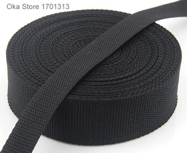 25mm 1 inch Polypropylene Webbing Strap Tape 1m Black