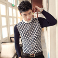 Spring 2017 men's casual long-sleeved knit shirt sleeve stitching Slim fashion trend of men's plaid shirt