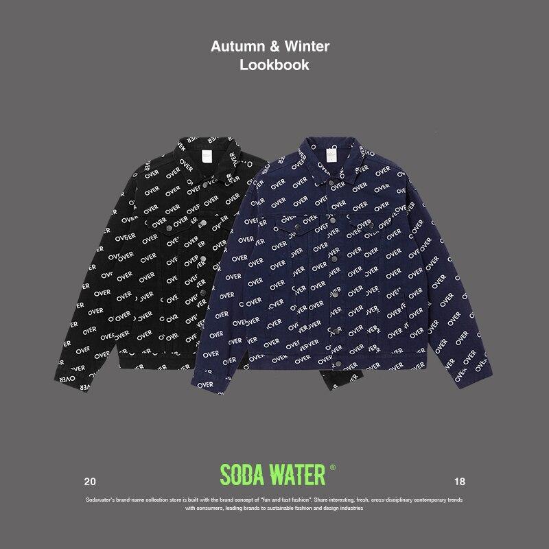 SODA WATER pleine lettre imprimé Denim veste hommes décontracté solide Slim Fit veste automne hommes Denim veste 8751 W
