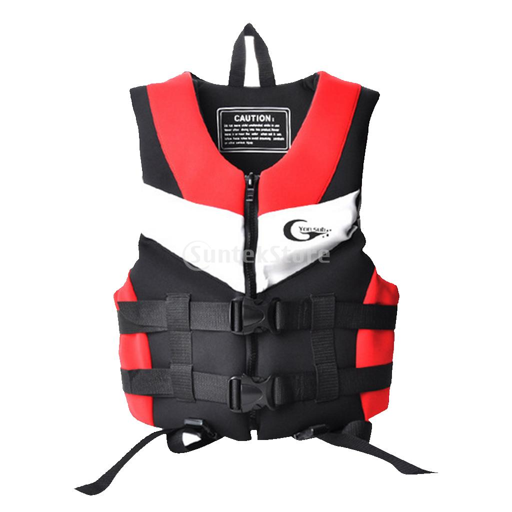 Swimming Life Jacket Water Ski Boating Yacht Surfing Buoyancy Aid Boat Harness Safety Vest With Front Pocket