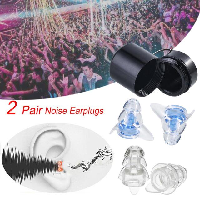 2 Pairs Noise Reducation Earplugs With Case Hearing Protection Ear plugs For Sleeping Study Travel Concert Motor Sport Mini Plug