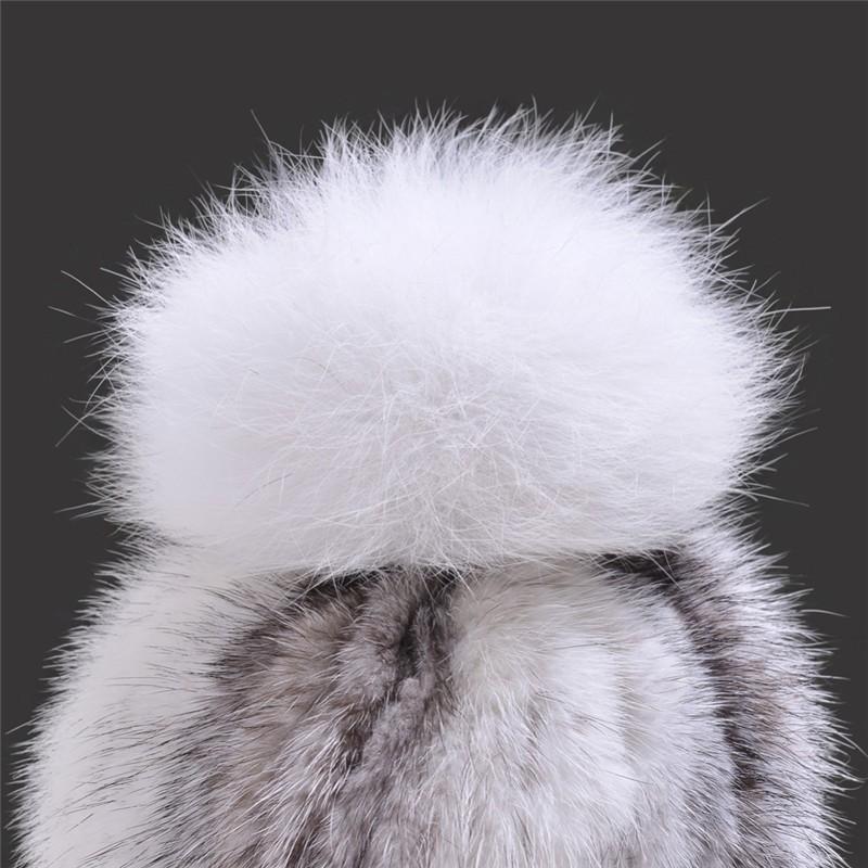 QUEENFUR-Real-Mink-Fur-Hats-with-Fox-Fur-Pom-Poms-Top-For-Winter-Women-2016-New