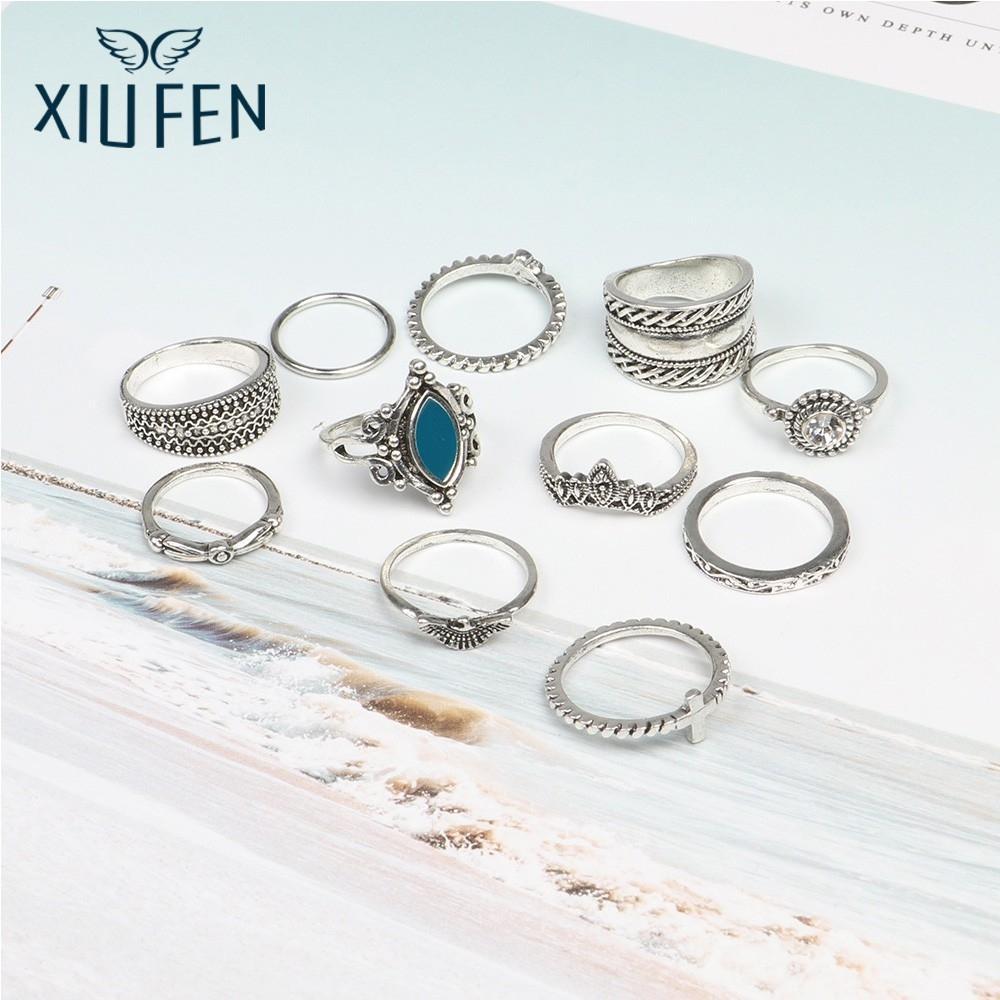XIUFEN 11 Pcs Fashion Retro Alloy Ring Gem Cross Simple Leisure Finger Rings ZK25