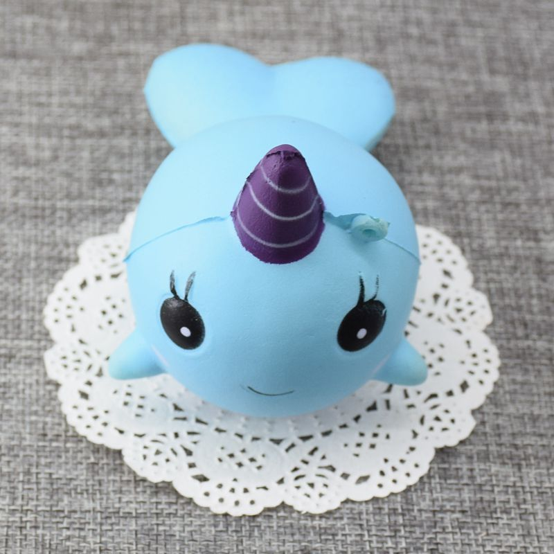 1 Piece 11cm Jumbo Squishy Blue Unicorn Dolphin Cute Phone Straps Soft Slow Rising Squeeze Bag ...