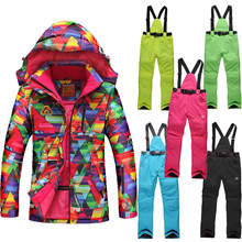 Russia -30 degree High Quality Winter Outerwear Winter Outdoor Women's Ski Suit Set Jacket and pants Skiing Windproof Thermal