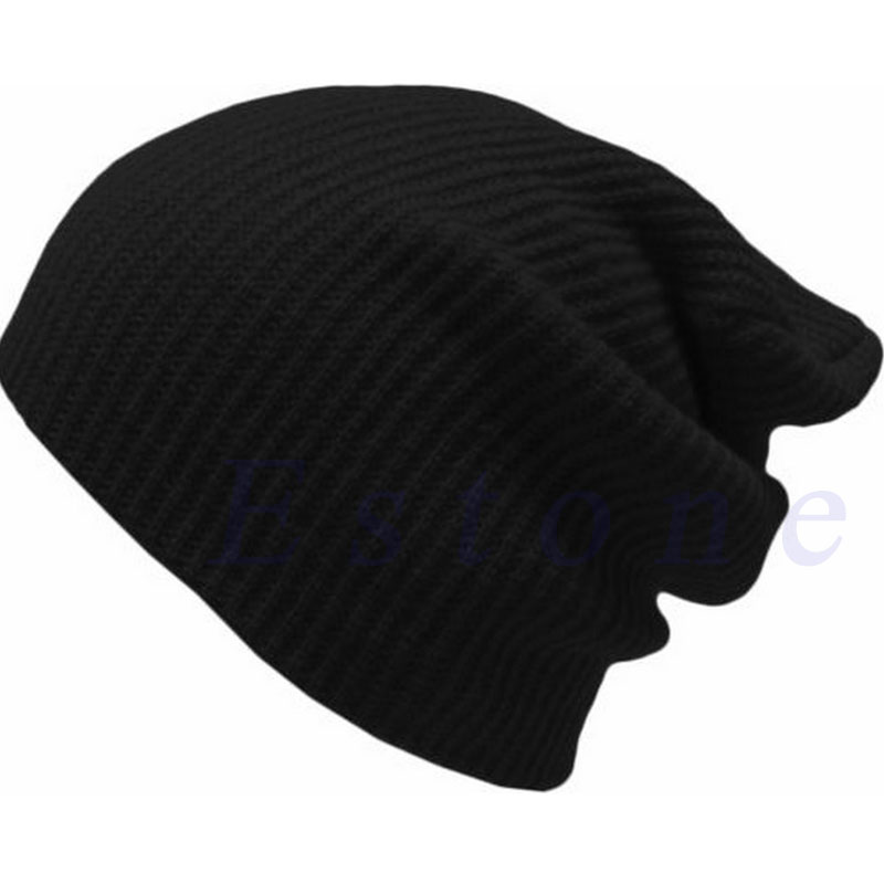 2017 Winter Men Women Baggy Beanie Ski Knitted Cap Skull Hat Unisex Fashion Solid Cotton Casual Warm Cap Soft Comfortable New novelty women men winter warm black full face cover three holes mask beanie hat cap fashion accessory unisex free shipping