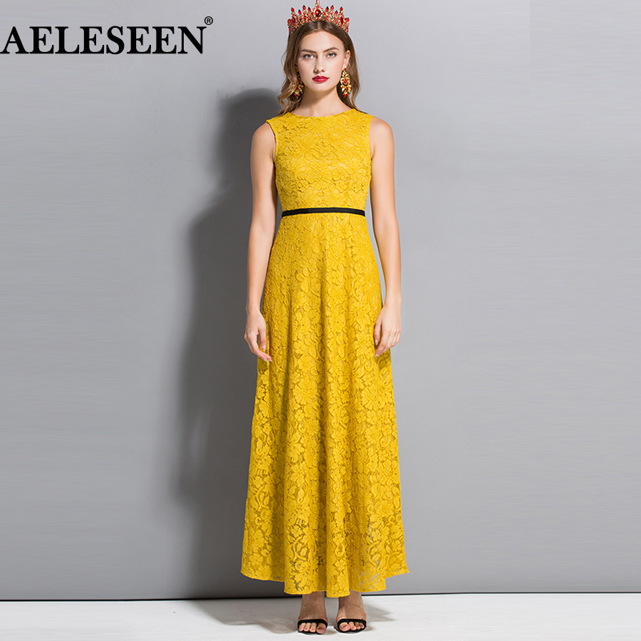 AESELEEN Summer Dress 2018 Elegant Party dress New Fashion Women Sleeveless Embroidery Lacing Up Backless Maxi Luxury Lace Dress