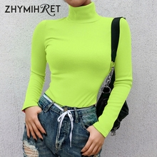 ZHYMIHRET 2019 Spring Ribbed Turtleneck TShirt Women Fluores