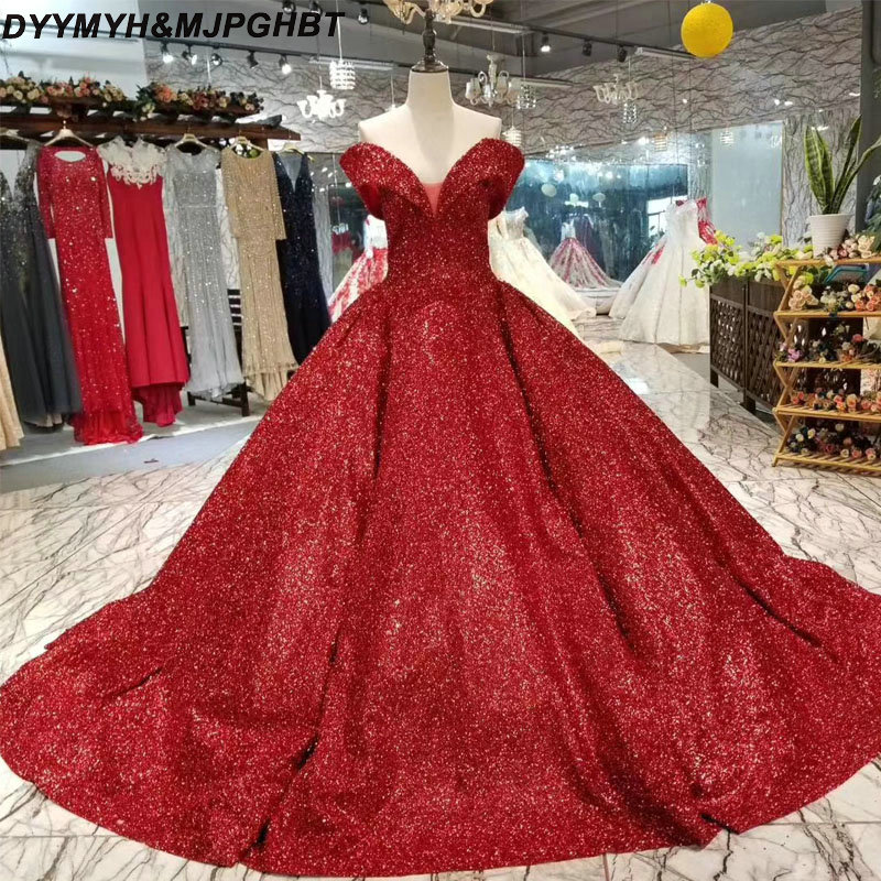 3b7e43e4 Glitter Ball Gown Prom Dresses 2018 Saudi Arabic V Neck Chapel Train  Blingbling Long Prom Dress Vestidos