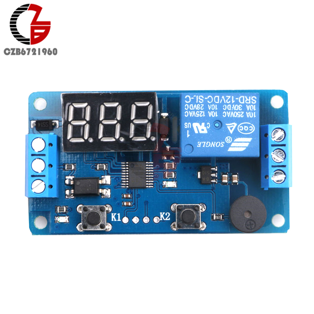 Digital LED Display DC 12V Timer Delay Relay Module Board Control Programmable Time Switch Trigger PLC Automation Car Buzzer led digital display circle delay time relay module time adjustable blue 12v