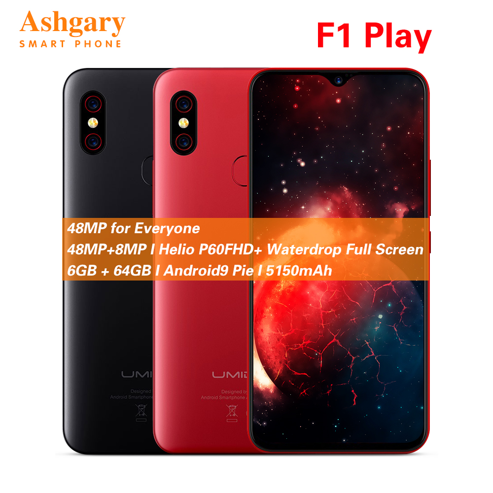 UMIDIGI F1 Play 6.3'' Android 9.0 4G Smartphone Helio P60 Octa Core 2.0GHz Mali G72 MP3 6GB 64GB Fingerprint 5150mAh Cellphone