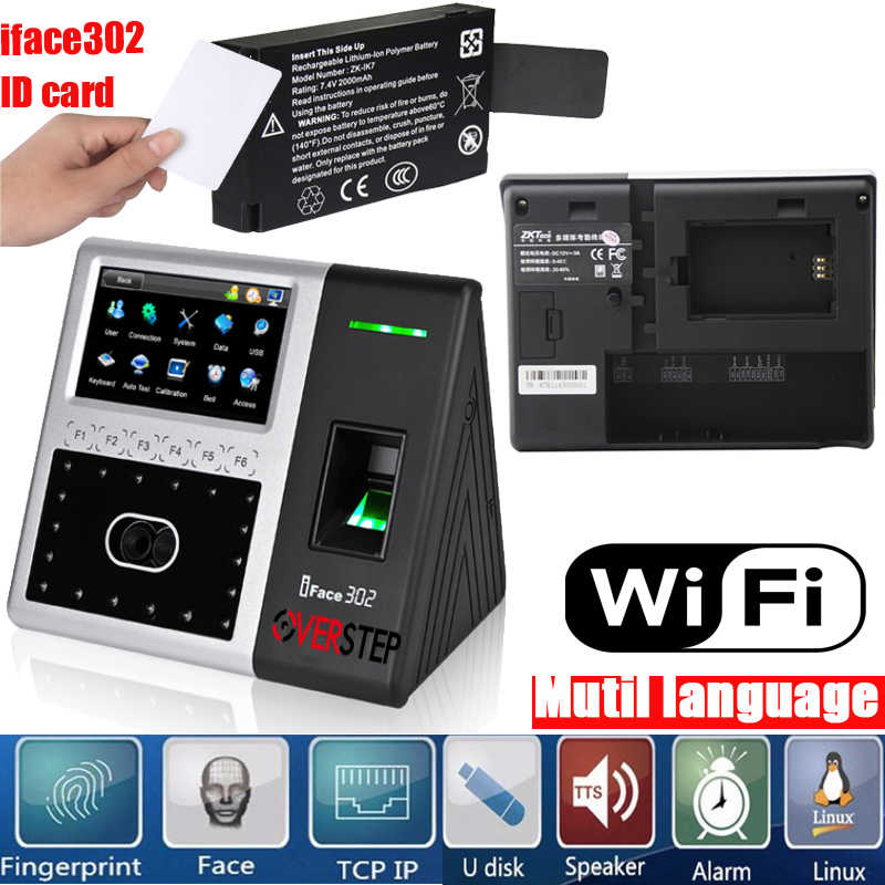 ZK Iface302 IC wifi adms battery Face Terminal Time Attendance and Access  Control fingerprint access control time attendance