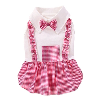 Dog Girl Dress Fashion Skirt Bowknot Sweety Dress Pet Dog Plaids Clothes Dog Boy Jumpsuits Small Medium Dogs image