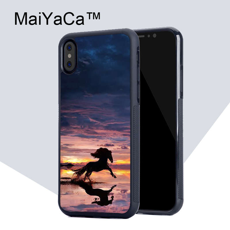 MaiYaCa horses Running at sunset Phone Case for iPhone X Luxury TPU Soft Rubber Mobile Phone Back Shell for iPhone X Case