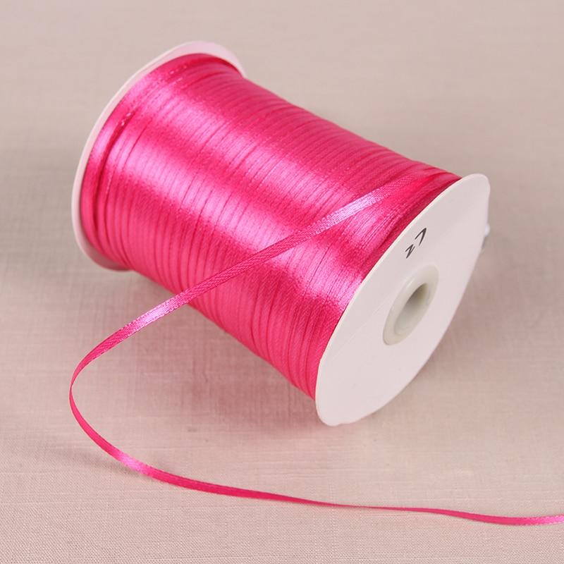 3 мм атласные ленты 22 м/лот DIY ручной работы товары для украшения свадьбы, дня рождения Подарочная упаковка белые ленты - Цвет: Розово-красный