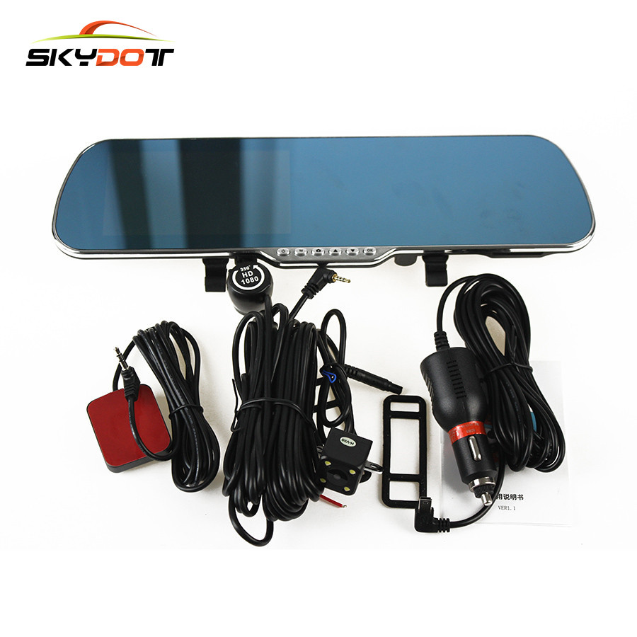 SKydot 5.0 Inch Touch WIFI Car DVR Camera GPS Rearview Mirror Dual Lens Dash Cam Full HD 1080P  Video Recorder With Night Vision new 5 android touch car dvr gps navigation rearview mirror car camera dual lens wifi dash cam full hd 1080p video recorder