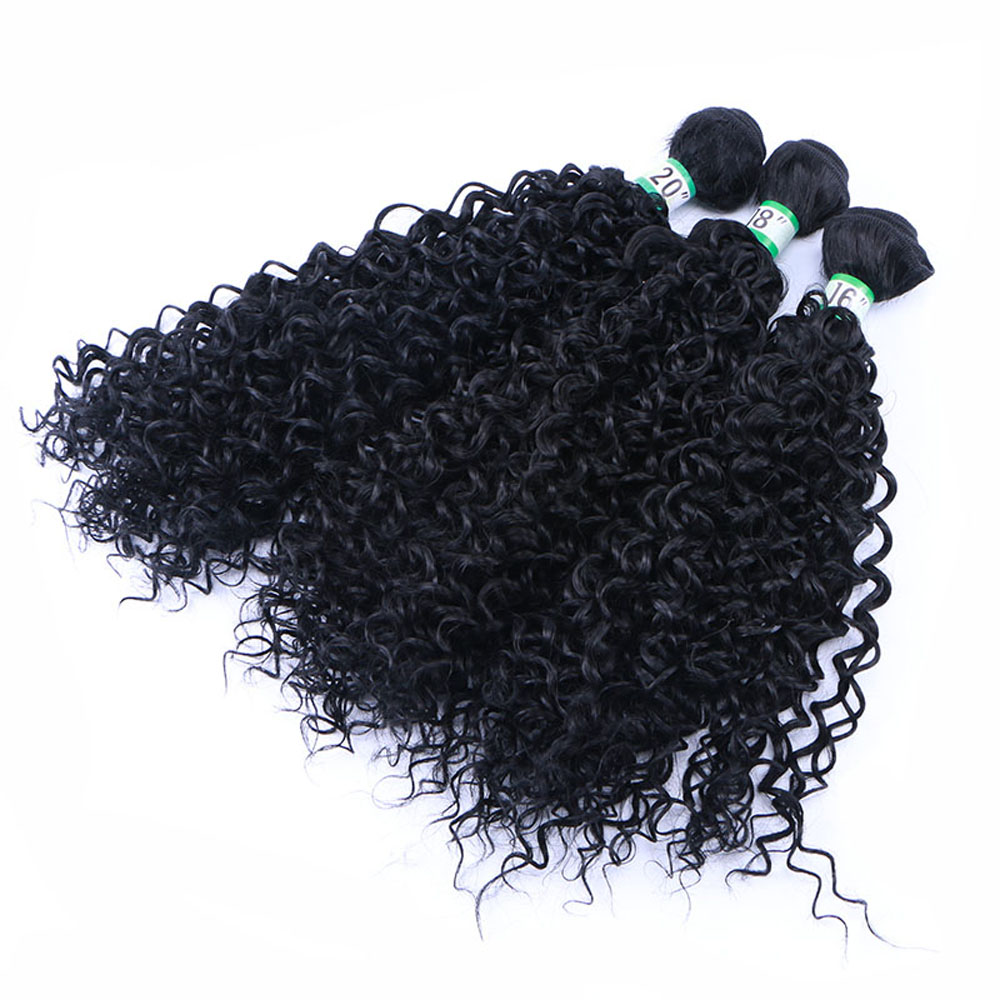 "Delice 70g/pc Kinky Curly Hair Weaving Synthetic Hair Extensions Jerry Curl Weft Bundles For Women 16"" 18"" 20""(China)"