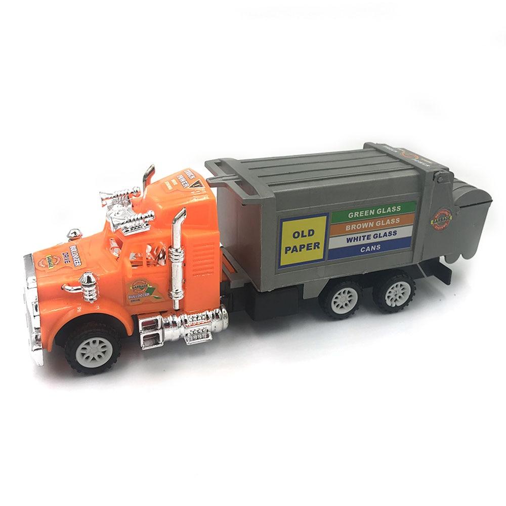 Inertia Plastic Car Barreled Garbage Carrier Truck Waste Material Transporter Vehicle Model Hobby Toys For Kids Christmas Gift