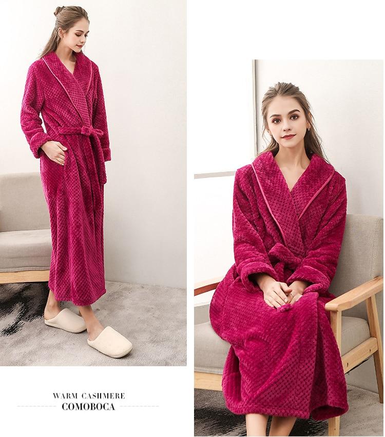 Winter Male Femlae Bathrobe Flannel Thick Robe Long Sleeve Soft Warm Bathrobe Men Women Home Wear Gown Robes Dressing Gown     788