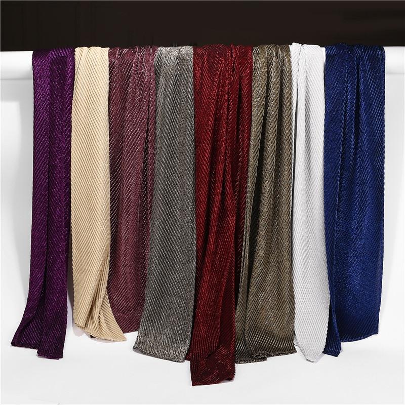 Fashionable Long Head Scarf Veil Women Muslim Glitter Metallic Hijab Shawl Crinkled Wrap Lurex Headband Islamic Arab Headscarf