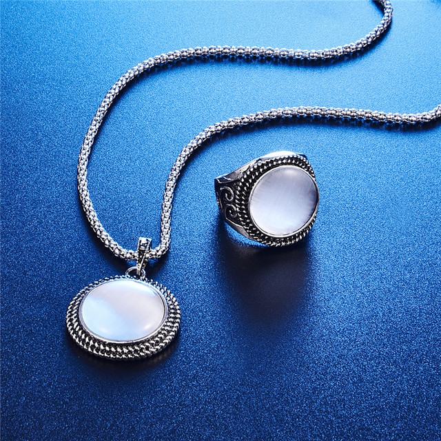 Elegant Vintage Opal Stone Jewelry Set Fashion Round Pendant Necklace Set Antique Silver Color 3Pc Crystal Jewelry Party Costume 2