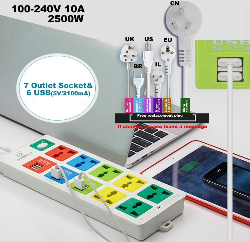 цена на Lightning protection system 7 Way Power Socket & 6 usb socket with EU UK US multi USB charger