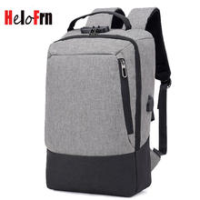 HeloFrn Anti Theft Men Backpack USB Charging Male Bag Teenager Men Bakcpck For Laptop Travel Mochila Gray Black