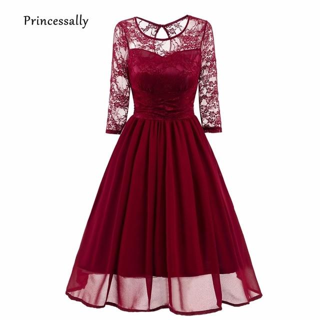 Robe De Soriee New Simple Wedding Dress Full Sleeve Lace: Robe De Soriee New Wine Red Bridesmaid Dresses Sheer Neck