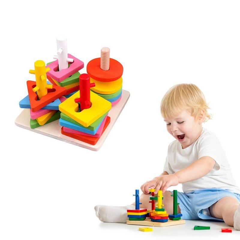 1 Set Kinderen Vroege Onderwijs Puzzel Houten Speelgoed Baby Geometrie Bijpassende Cognitieve Bouwsteen Speelgoed Kerstcadeaus Goed Voor Energie En De Milt