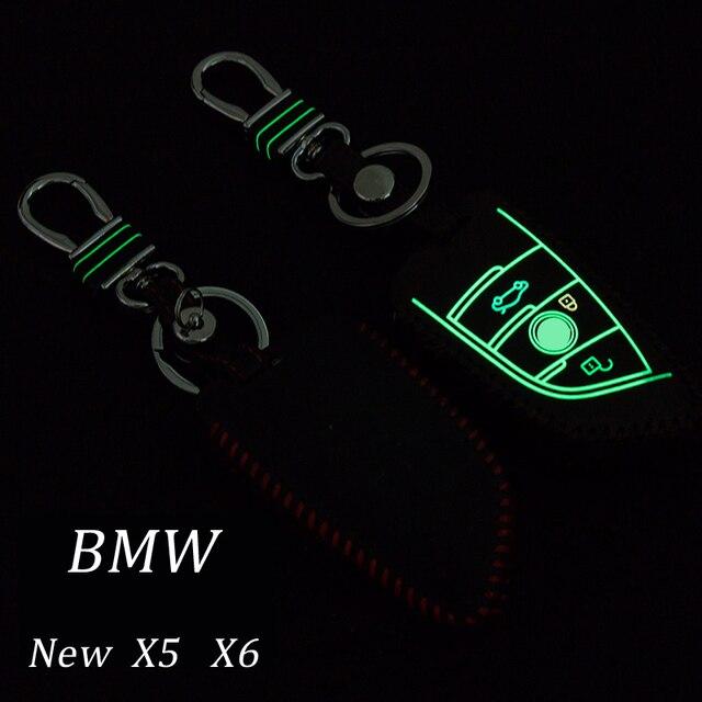 Натуральная Кожа Автомобиль Брелок Брелок Крышка Для BMW новый X5 X6 Smart Remote Key Holder Кольца бумажник Авто аксессуары