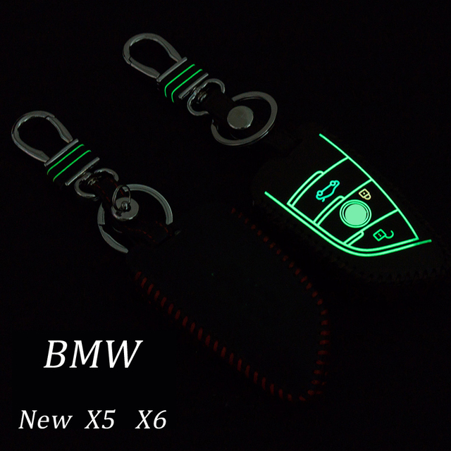 Genuine Leather Car Keychain Key Fob Case Cover For BMW New X5 X6 Smart Remote Key Holder Rings wallet Auto Accessories