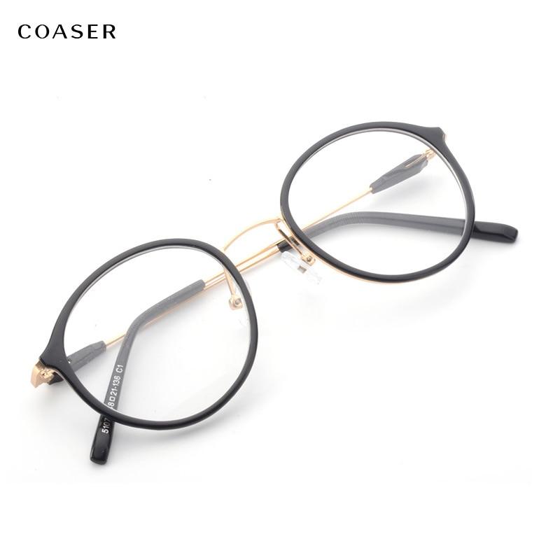 COASER Super Licht Runde Vintage Metall TR90 Frauen Optische Brillen ...