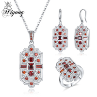 Valentine S Day Gift Vintage Engagement Jewelry Set For Women Red White Green Blue Color Crystal