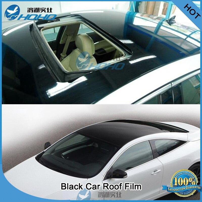 Feuille de Film de toit de voiture en vinyle noir brillant 1.35 m x 3 m