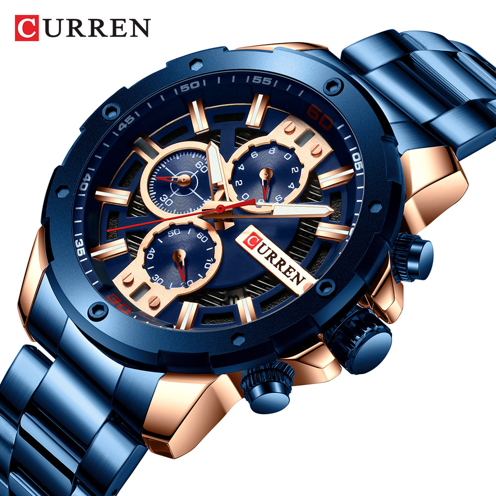 CURREN Men Watch Top Luxury Brand Stainless Steel Business Clock Chronograph Army Sports Quartz Male Watches Relogio MasculinoCURREN Men Watch Top Luxury Brand Stainless Steel Business Clock Chronograph Army Sports Quartz Male Watches Relogio Masculino