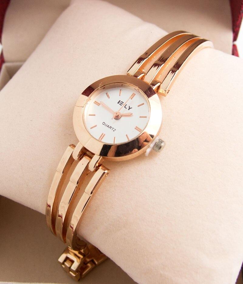 где купить High Quality Rose Gold Bracelet Watch Women Ladies Elegant Dress Quartz Wrist Watch Relogio Feminino E059 дешево