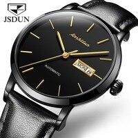 Jsdun 2019 새로운 남성 클래식 기계식 시계 비즈니스 캘린더 방수 시계 럭셔리 브랜드 정품 가죽 자동 시계