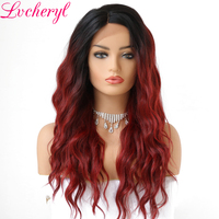 Lvcheryl Trendy Hand Tied 2 Tone Black To Wine Red Deep L Parting Loose Wave Heat Resistant Synthetic Lace Front Wigs for Women