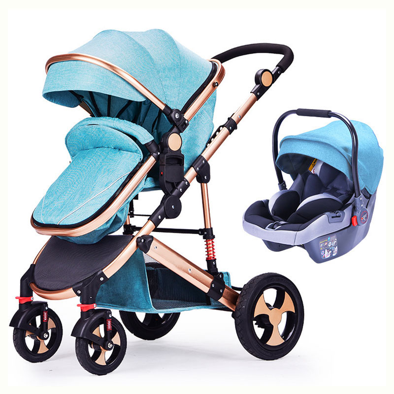 Baby Stroller 3 In 1 High Landscape Baby Stroller Newborn Baby Car Seat Cradle Baby Carriage Travel System Car Seat Stroller все цены